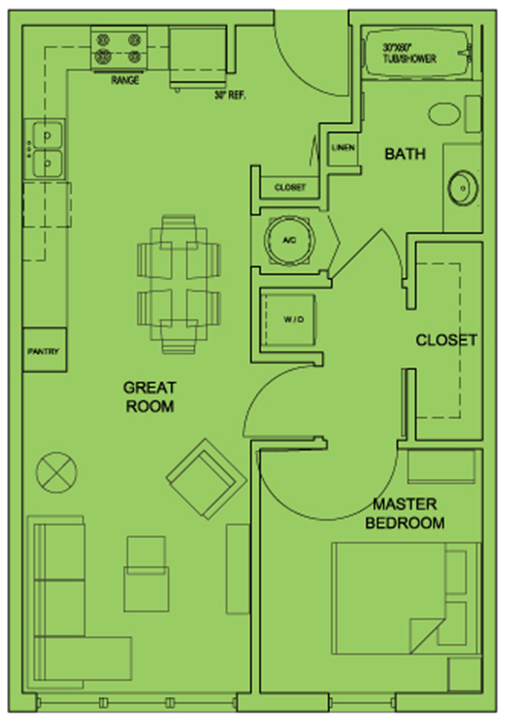 Metro 510 1 Bed 1 Bath Floor Plan