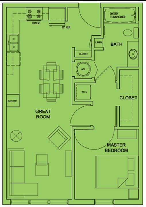 Metro 510 1 Bed 1 Bath Floor Plan
