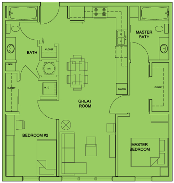 Metro 510 2 Bed 2 Bath Floor Plan