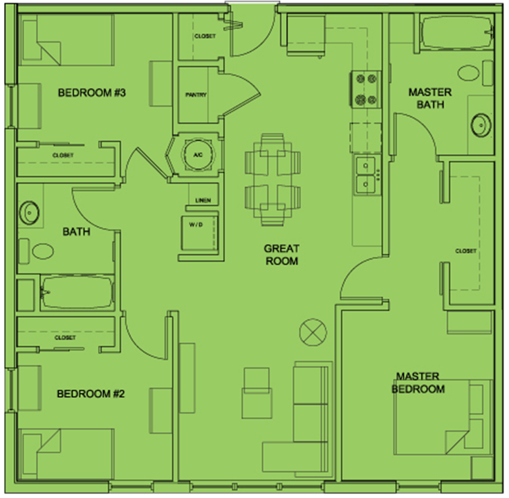 Metro 510 3 Bed 2 Bath Floor Plan