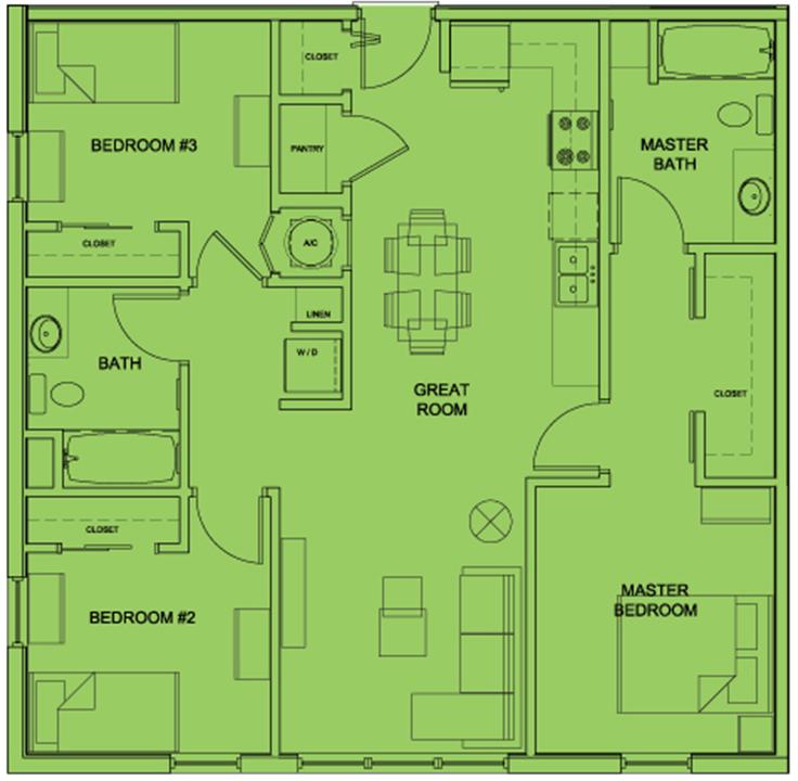 Metro 510 3 Bed 2 Bath Floor Plan